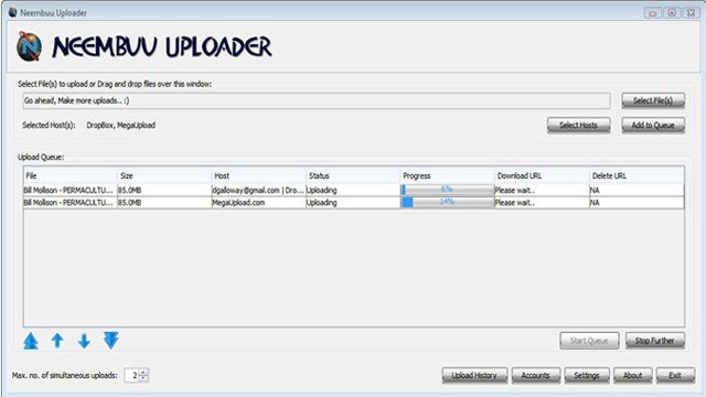 Neembuu Uploader Simultaneously Uploads Files to Up to 25 Filehosts