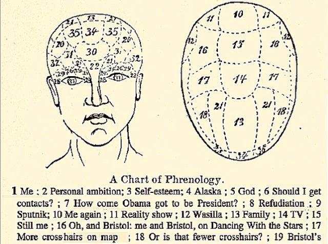 Phrenological Chart May Help Us Better Understand Sarah Palin's Brain
