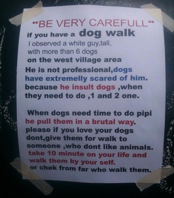 Mysterious West Village Animal Activist Hates Mean Dog Walker, the English Language
