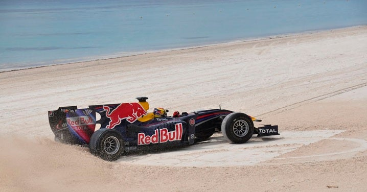F1 Car + Beach = Epic Donuts