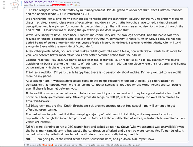 Misogynist Tantrum Officially Drives Ellen Pao from Reddit