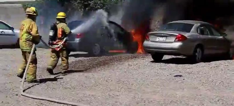 Man Politely Requests Firefighters Put Out His Burning Car First