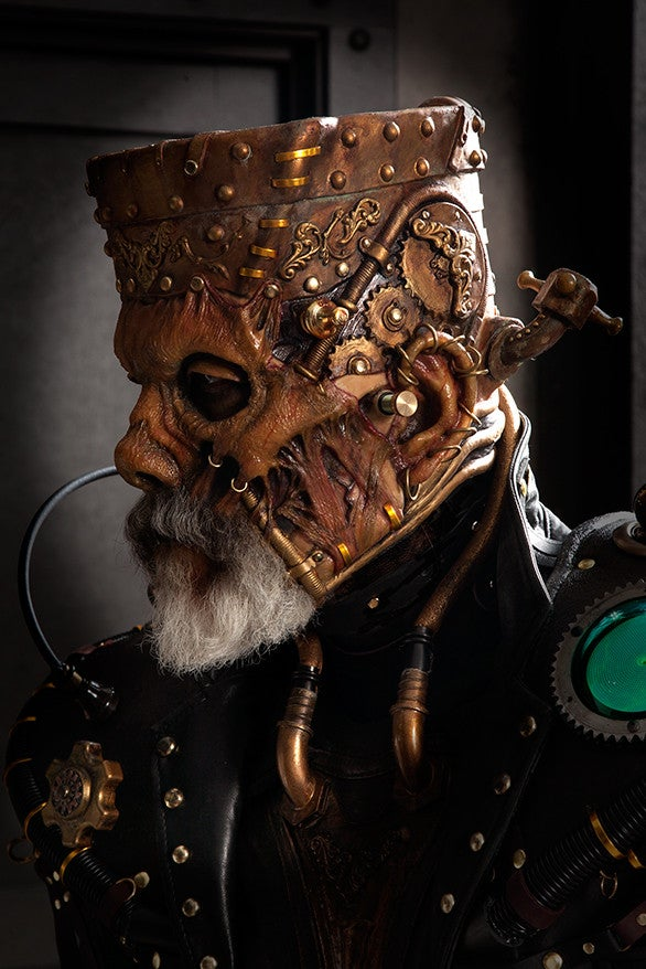 Steampunk Frankenstein's Monster is full of grotesque details