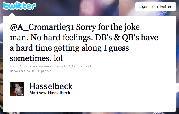 Matt Hasselbeck Apologizes After Antonio Cromartie Threatens To Smash His Face