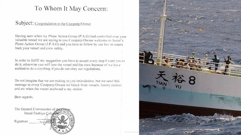 'Congrats, You're Getting Hijacked': Check Out This Surprisingly Polite Somali Pirate Memo