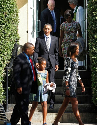 Barack Obama Attends 'Christian Church'