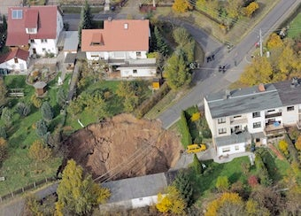 Giant Sinkhole Swallows Car in Germany