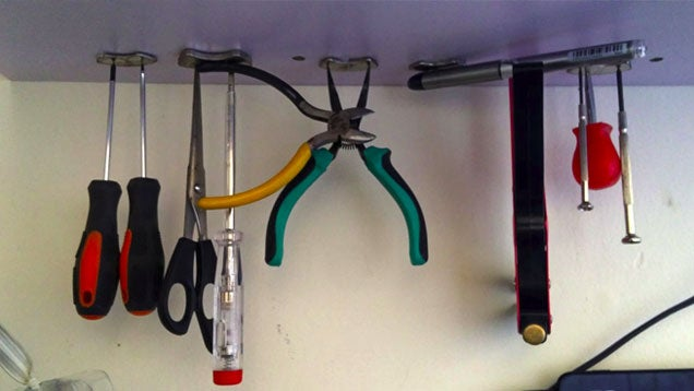 Hang Small Tools Under a Shelf with Hard Drive Magnets