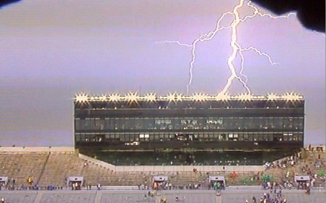 Weather Forces Evacuation Of Notre Dame Stadium