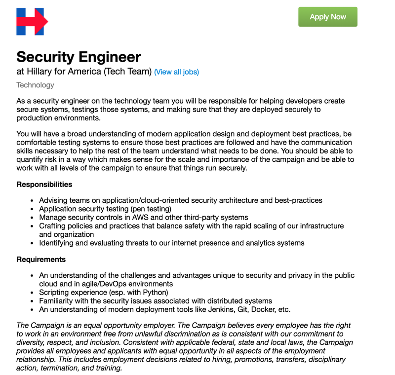 Amazing Job Opportunity: Be Hillary's Security Engineer!