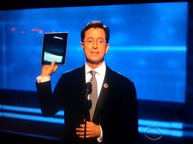 Stephen Colbert Delivers Grammy for Song of the Year From His New Apple iPad