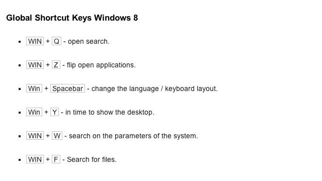 The New Windows 8 Shortcuts