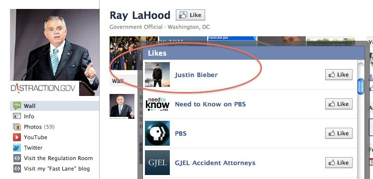 Ray LaHood has a thing for Justin Bieber