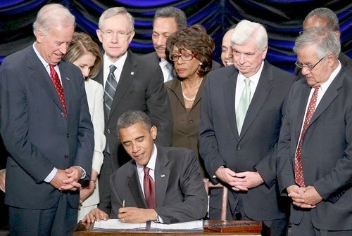 Democrats Violate Obama's Personal Space During Signing Ceremony