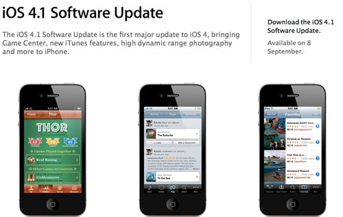 iOS 4.1 Released On September 8th