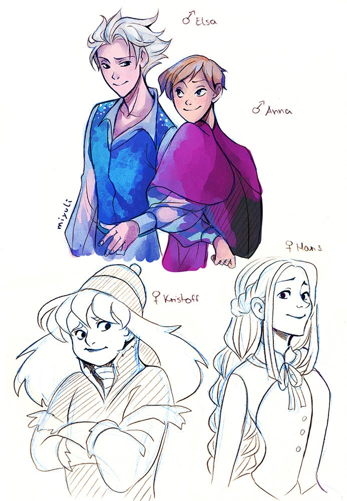 Artist perfectly captures genderswapped Disney princesses