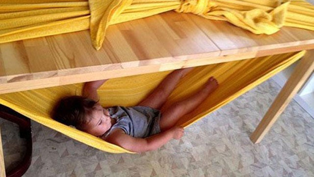 Make A Child Friendly Hammock With A Bed Sheet And A Table