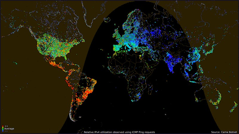 Worldwide internet usage based on time