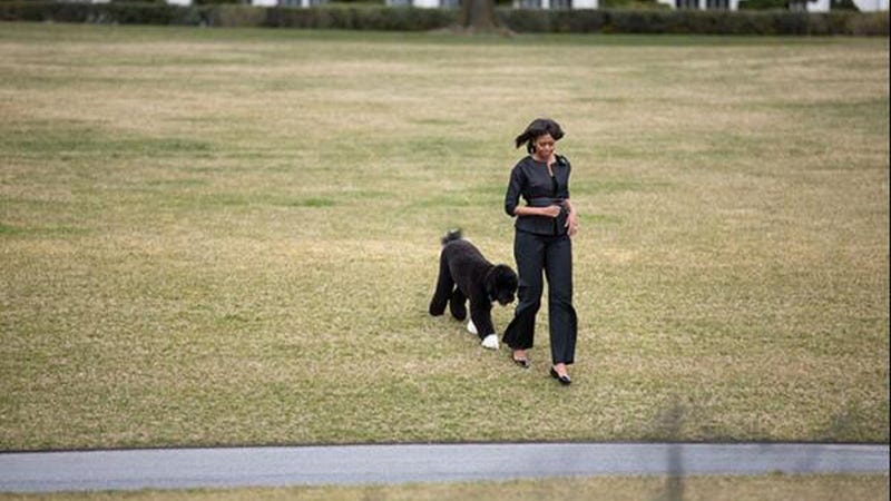 Michelle Obama and Her Not-So-Secret Admirer Take a Stroll
