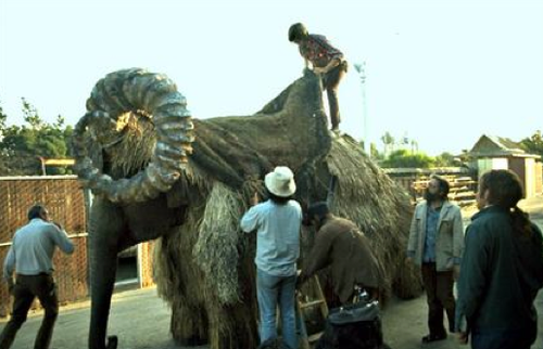 Photos of an elephant dressing up as the bantha from Star Wars