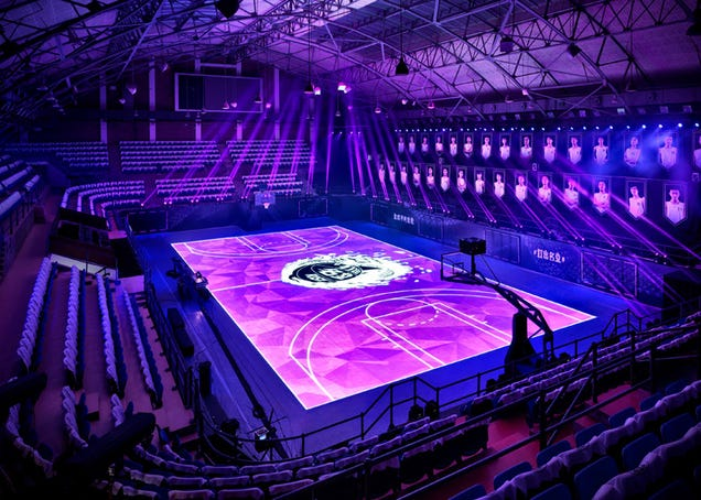 The first touch-sensitive LCD basketball court in the world is awesome