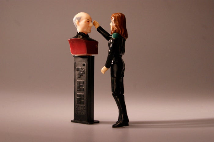 Gates McFadden has way too much fun with her Beverly Crusher action figure