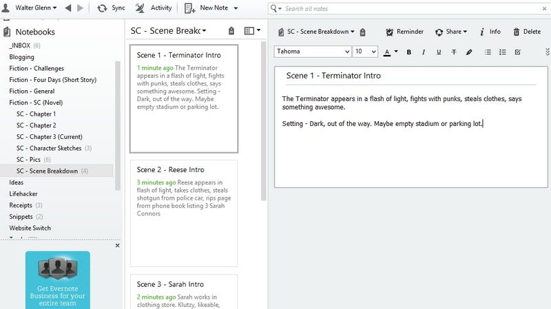 How To Use Evernote for Writing Fiction