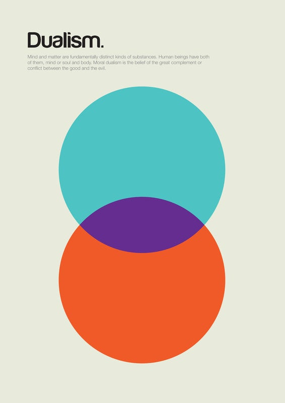 Minimalist posters explain complex philosophical concepts with basic shapes