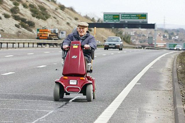 Brit Pensioner Hits Freeway On Mobility Scooter