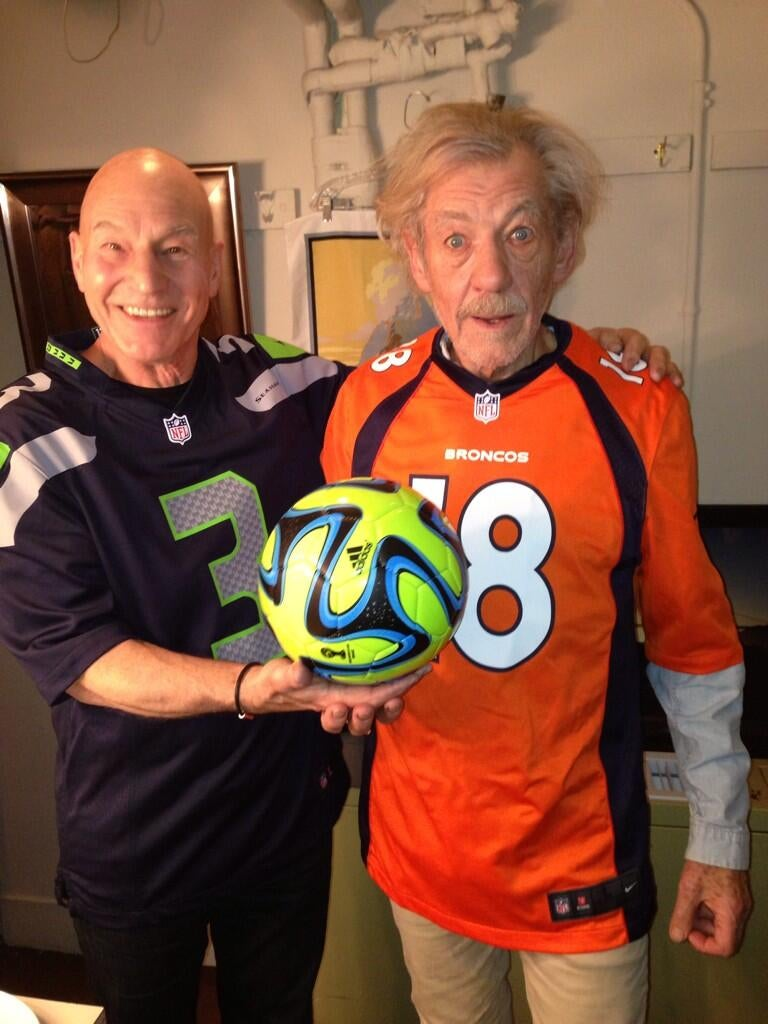 Sir Patrick and Sir Ian are ready for some football.