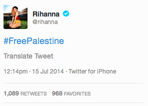 Rihanna Deletes Tweet in Support of Palestine