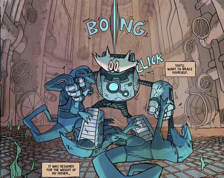 "It's mecha-cat vs. brain-swapping lizard men in the webcomic ""reMIND"""