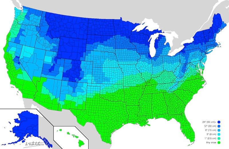 A map of ​how much snow it takes to cancel school across the U.S.