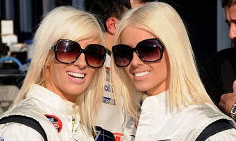 Blonde Twin Lady Drivers Complete A NASCAR Race