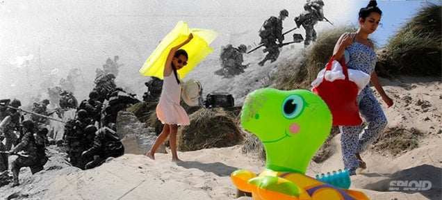 D-Day battle images merged with photos of tourists on the same spots