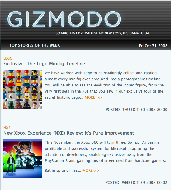 Gizmodo's Top Stories Delivered Via Email
