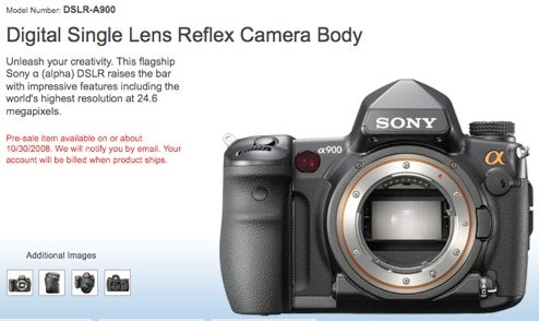 Sony Alpha900 DSLR Now on Pre-Order, Due 30th October
