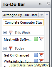 Using Outlook's To-Do Bar