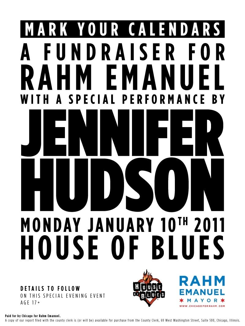 Jennifer Hudson Raising Cash for Rahm Emanuel