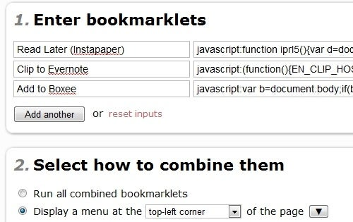 Bookmarklet Combiner Saves Space on Your Bookmark Bar