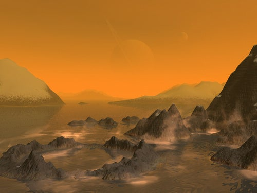 The mountains of Titan are formed by the moon slowly shrinking