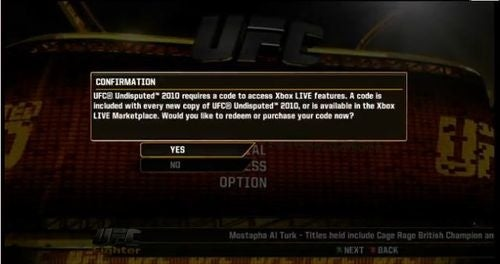 Code Required for UFC Undisputed Online Play