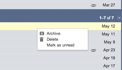 Easily Archive or Delete a Gmail message using right click