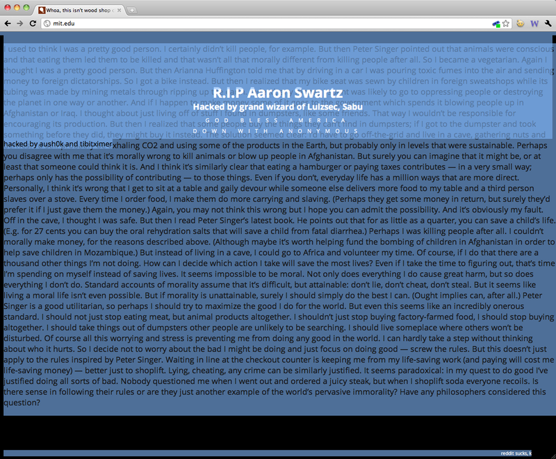 Hackers Deface Entire MIT Website in Aaron Swartz Suicide Revenge Attack (Updated: Hackers Speak)
