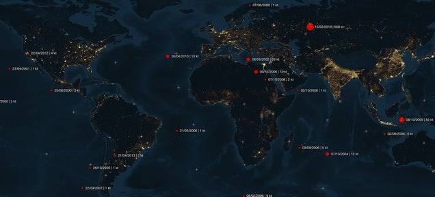 Map reveals all asteroid impacts from 2000 to 2013