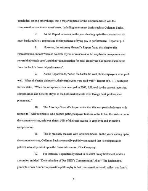 Shareholder Complaint Against Goldman Sachs