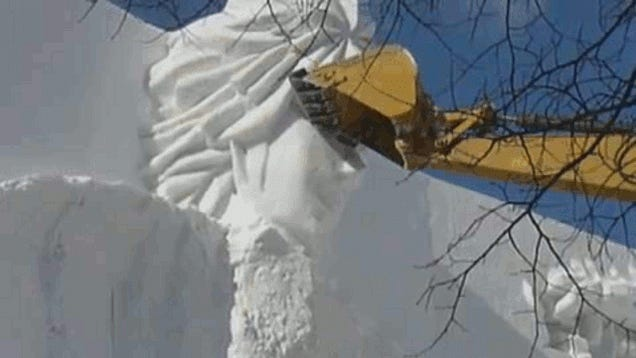 Watch The Brutal Destruction of Giant Snow Sculptures