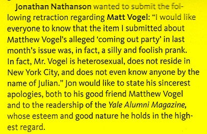 Yale '02 Grad Somehow Not A Huge Homo