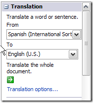 Translate Text in Microsoft Word 2007