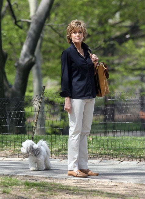 Jane Fonda & Pup Look Both Ways